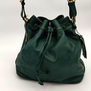 Ora Delphine Claire Leather Bucket Bag Green 💚